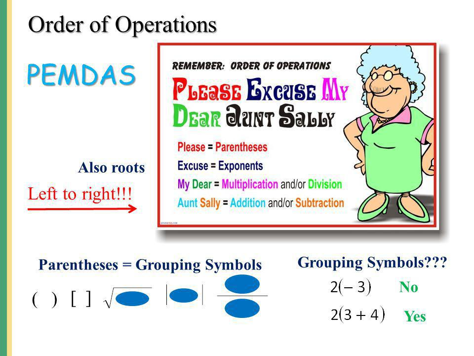 PEMDAS Order of Operations Left to right!!! ( ) [ ] Also roots